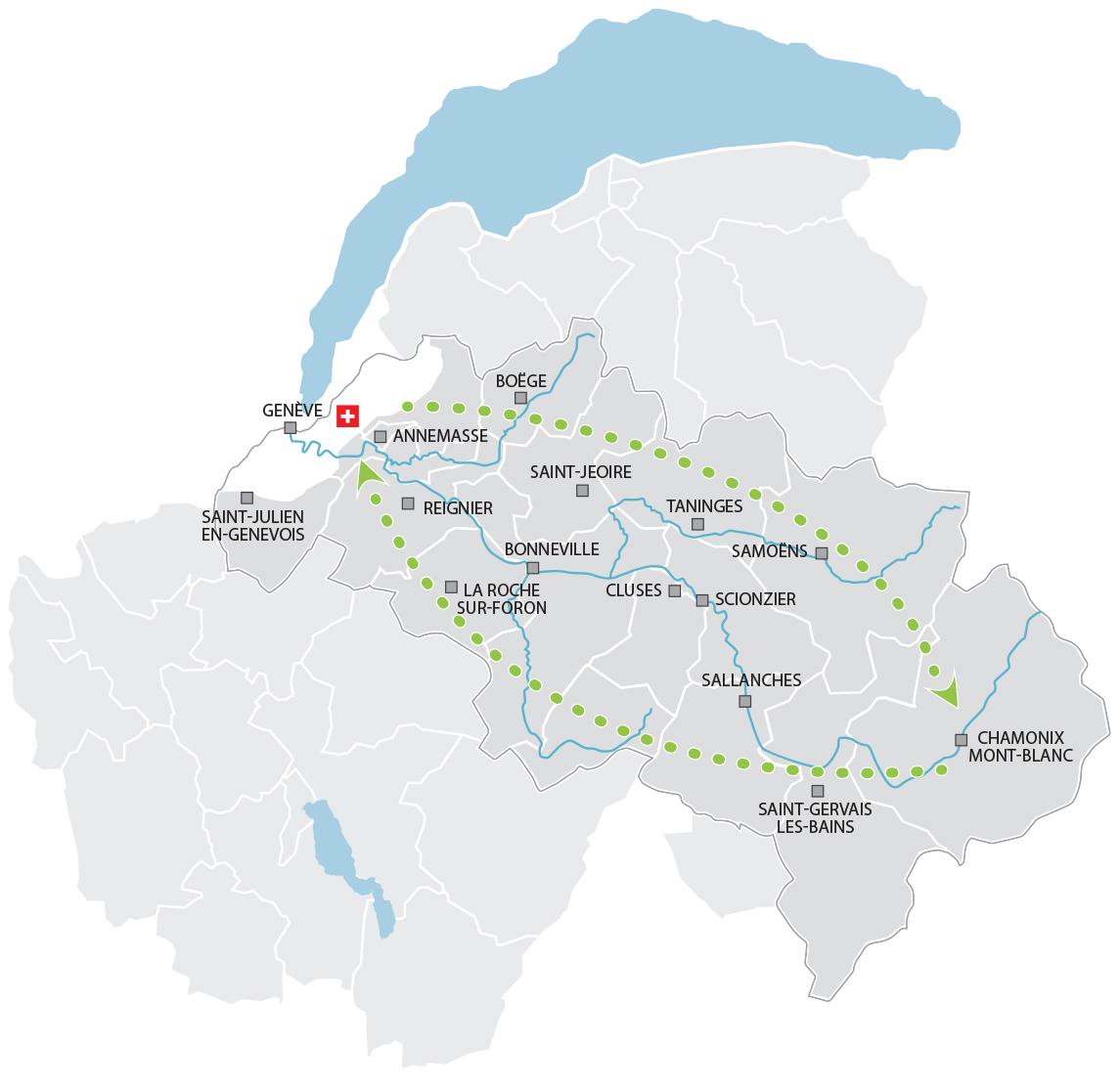 vallée de l arve carte Navet'Fret Eco, Transport écologique de marchandises, Prabel