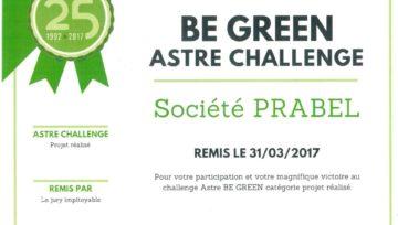 Victoire Prabel au challenge astre be green catégorie projet réalisé